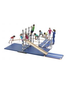 Movable climbing island freestanding climbing frame with accessories in place