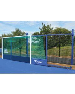Fence folding hockey goals