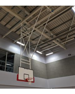 Dual boom basketball goals roof mounted