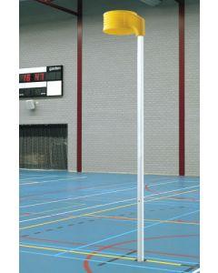 Socketed korfball post with basket