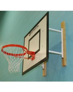 Fixed projection practice basketball goals from Continental Sports Ltd - on timber bearers due to blockwork wall
