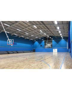 Trevira fabric sports hall wall cladding