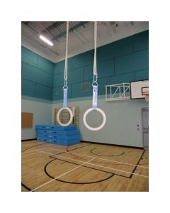 Handrings for wall hinged rope-frame