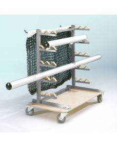 Post pole and net storage trolley