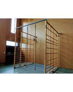 Climbing ropes added to a pair of hinged timber climbing frames to create a Southampton Cave