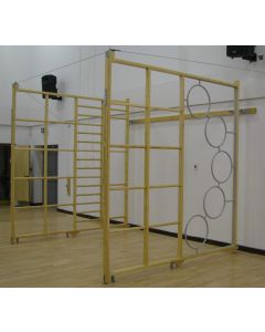 Wall hinged timber climbing frame. Window ladder frames. Pair of hinged frames