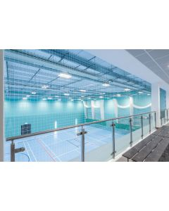 Sports hall viewing gallery protection netting at Colchester Sports Hub