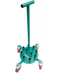 Socketed badminton post storage trolley