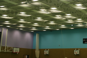 Sports hall walls blue and lilac
