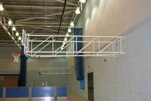 Sports hall walls in pale blue / grey