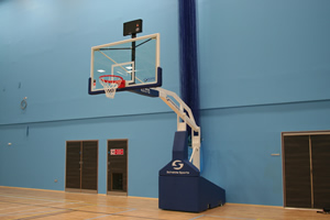 Sports hall walls in blue