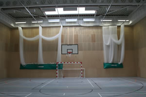 Sports hall walls in timber