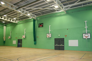 Sports hall walls in pea green