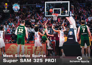 Super SAM 325 PRO from FIBA 1 portable basketball goal from Schelde Sports