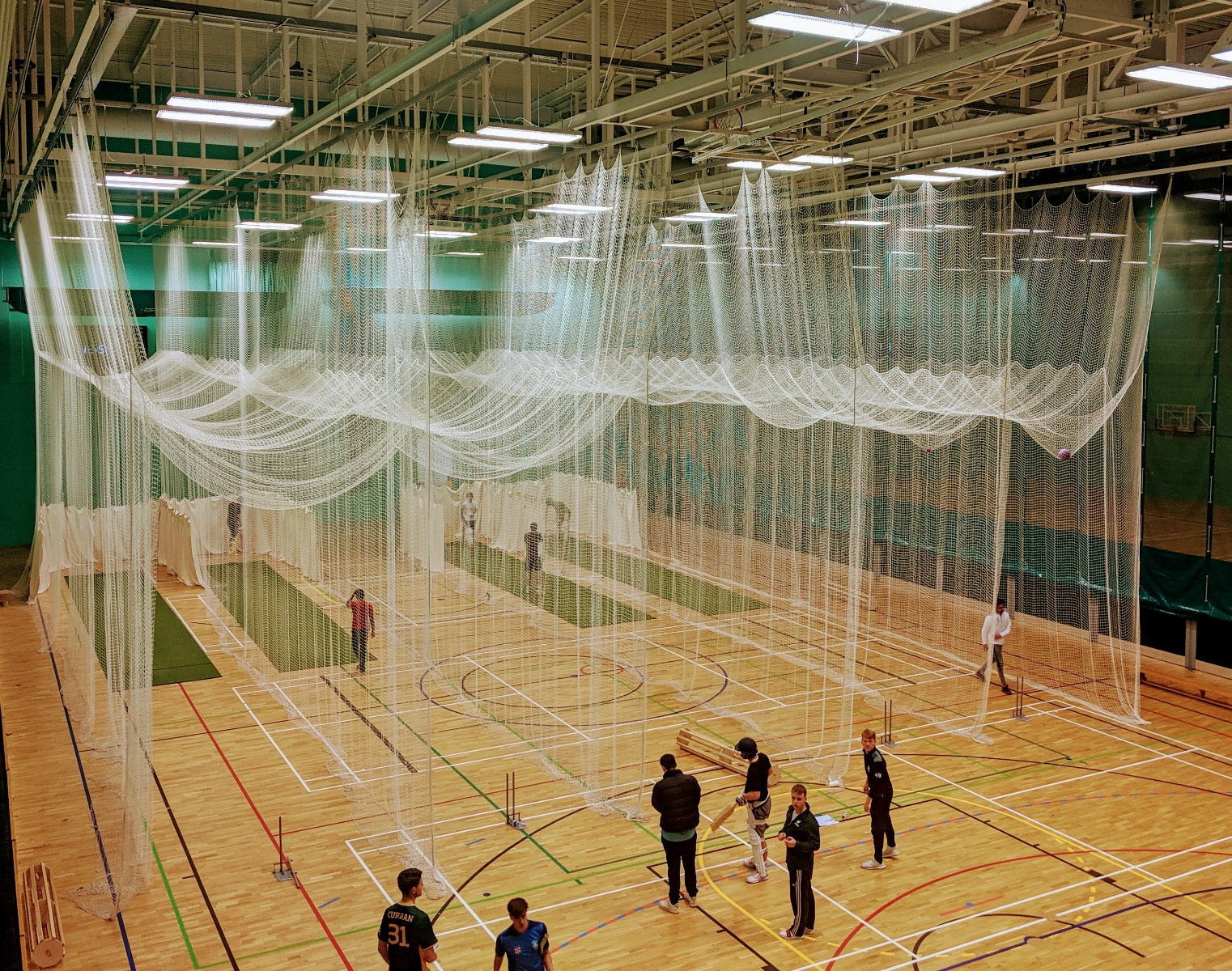 Indoor cricket practice netting