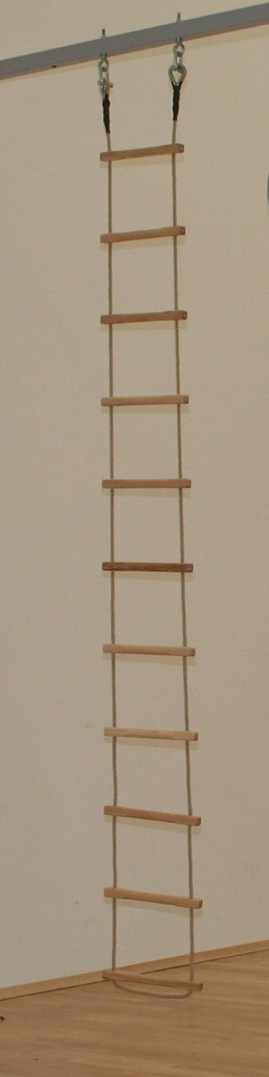 Rope ladder for wall hinged rope frames